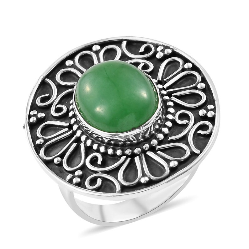 Amazing Green Jade Top Quality Gemstone Ring,925-Antique Silver Ring,Middle Finger Ring,Antique Silver Ring,Wedding  Ring Gift For Her