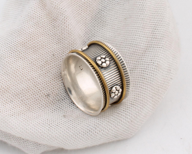 Thumb Ring 925-Sterling Silver Ring Silver Spinner Ring For Women Wedding Gift Spinner Ring Two Tone Ring Spinner Meditation Ring