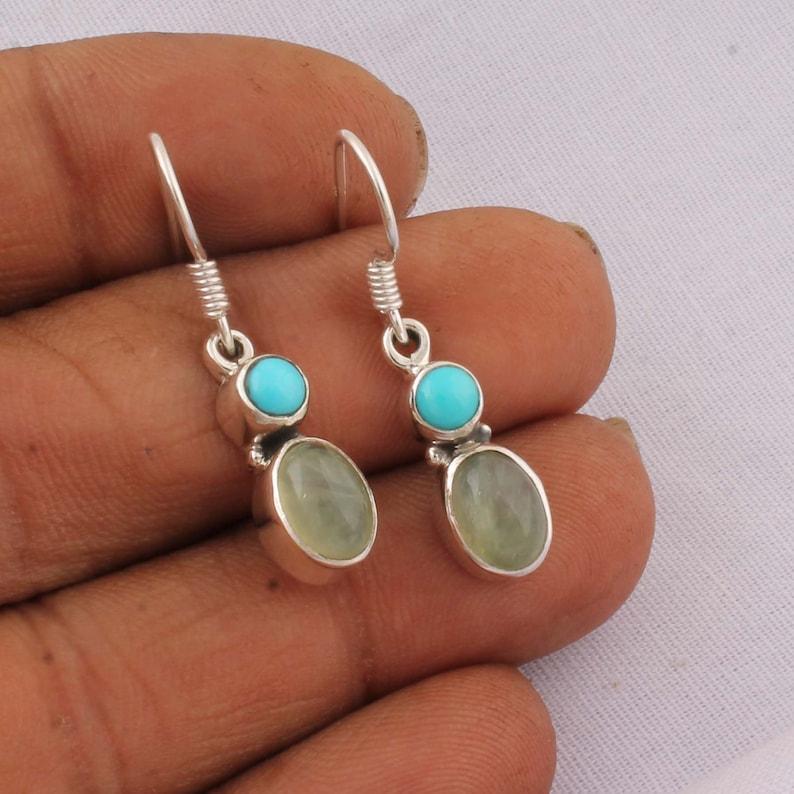 925 Sterling Silver SLEEPING BEAUTY TURQUOISE Gemstone  Earring