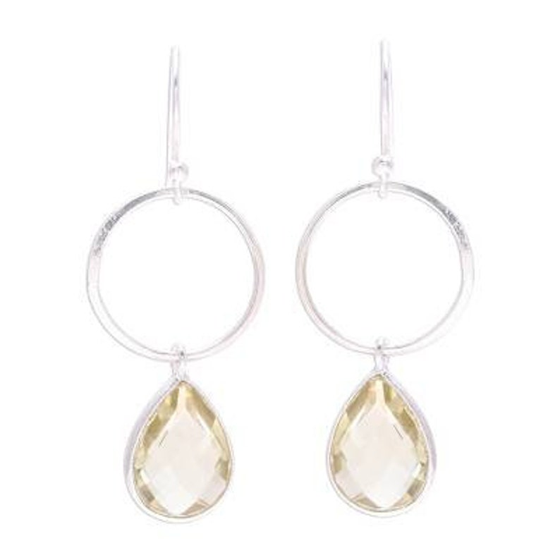 Natural Citrine Top Quality Gemstone Handcrafted Earring Cut,Transparent Stone Boho Earring 925-Sterling Silver Earring Etsy Cyber-2019