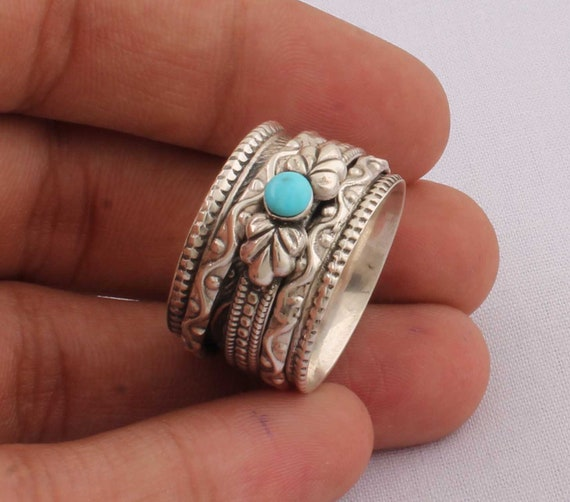Sleeping Beauty Turquoise Top Quality Gemstone Ring 925-Antique Silver Ring,Sterling Silver Ring,Ring Finger Ring Anniversary Ring