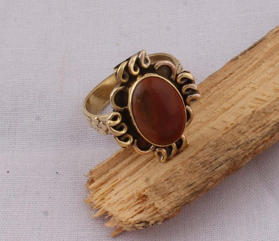 Amazing Red Jade Top Quality Gemstone Ring,Boho Oval Ring,Yellow Brass Ring,Middle Finger Ring,Wedding Ring One OF Kind,Fashion Item Ring
