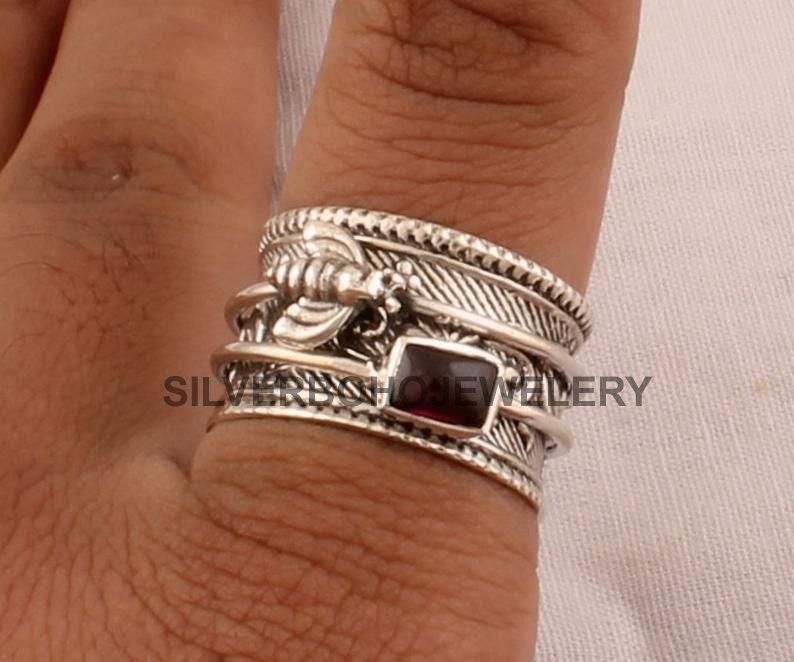 925 Sterling Silver Natural Red Garnet Spinner Ring Designer Honey Bee Silver Carved Spinner Ring Valentines Day Jewelry Handmade Ring