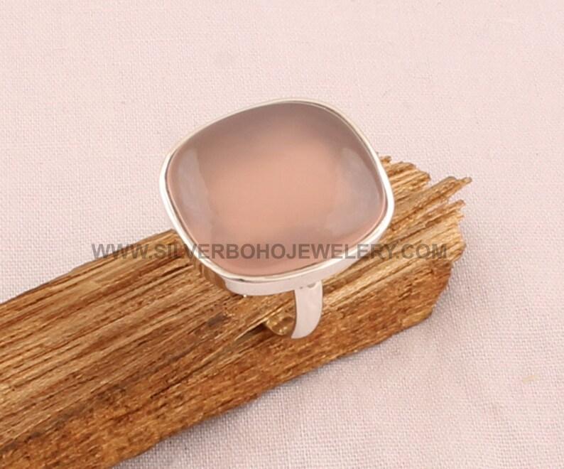 Handmade Jewelry For Women Natural Rose Quartz Ring 925 Sterling Silver Ring Engagement Rose Quartz Ring Rose Quartz Cushion Rings