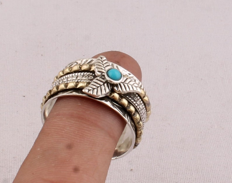 Natural Sleeping Beauty Turquoise Gemstone Ring,925 Silver Spinner Ring,Meditation Spinner Ring,AAA+Quality Gemstone,Thumb Ring,Women Gifts