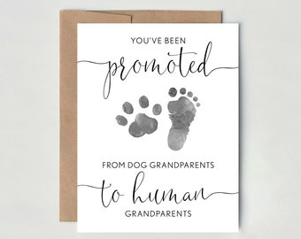 Dog Grandparents, Pregnancy Announcement Card to Parents, You've been promoted from Dog Grandparents to Human Grandparents, new baby card