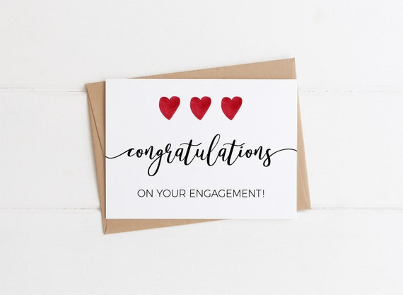 Congratulations On Your Engagement Elegant Engagement Card | Etsy