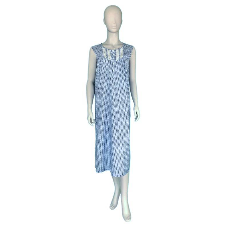 WHITE /& BLUE 100 percent cotton nightgown ~ Lapis and Lace sleeveless nightgown