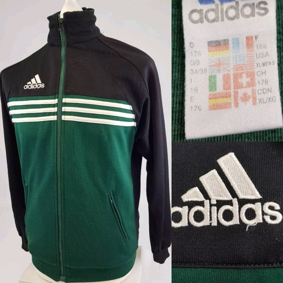 Adidas Shell Suit Jacket BlackGreen Small | Veste vintage