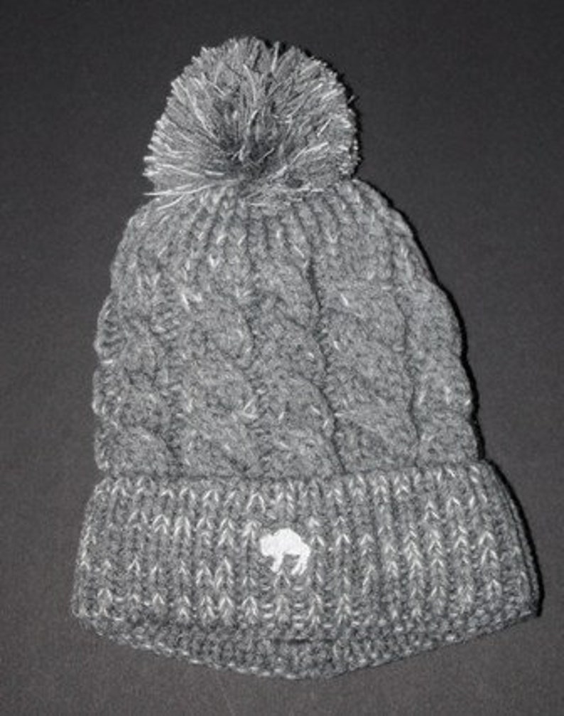 Speckled Grey Cable Knit Beanie with sherpa fleece inside
