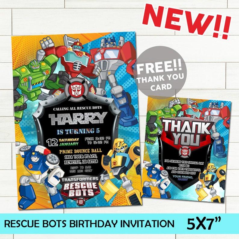 Rescue Bots Invitations Birthday