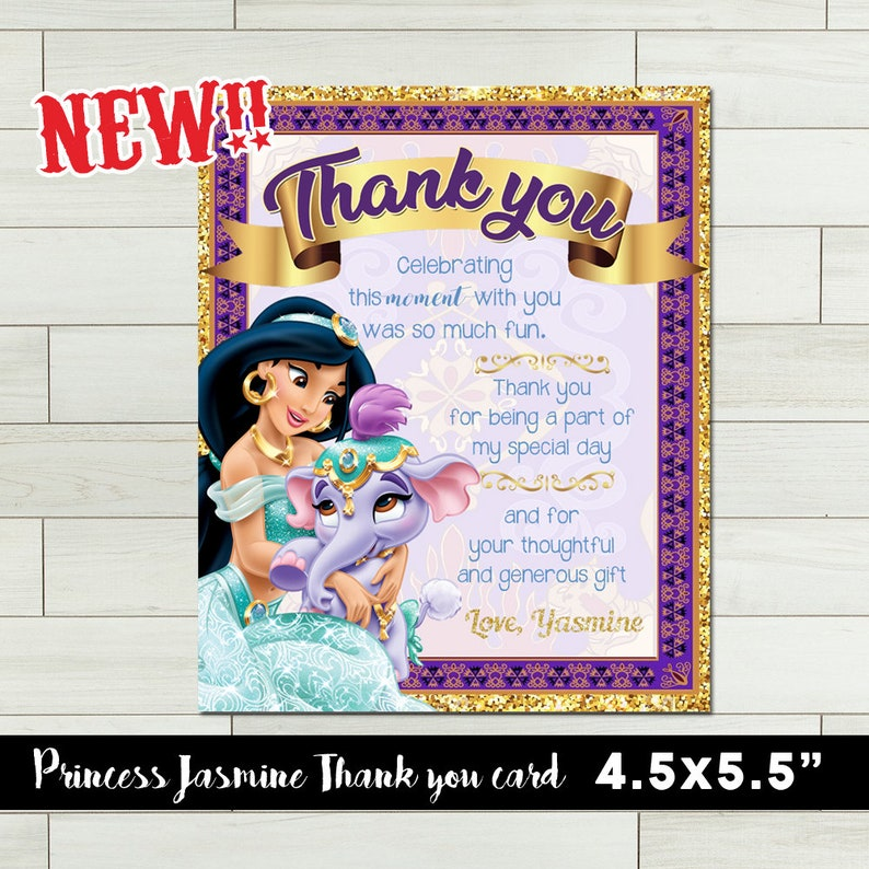 Jasmine Thank You Card Jasmine Birthday Invitation Princess Invitation Princess Thank You Card Printable Thank You Card Disney Princess