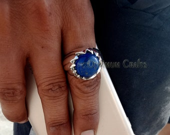 Jewellery & Watches Lapis Lazuli Solid 925 Sterling Silver Band Ring Meditation Ring Size V V842