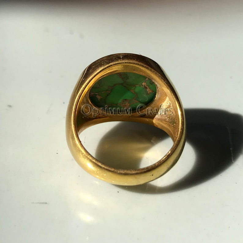 Green copper turquoise ring 925 solid sterling silver round cab yellow gold plated statement ring handmade gemstone plain mens handmade ring