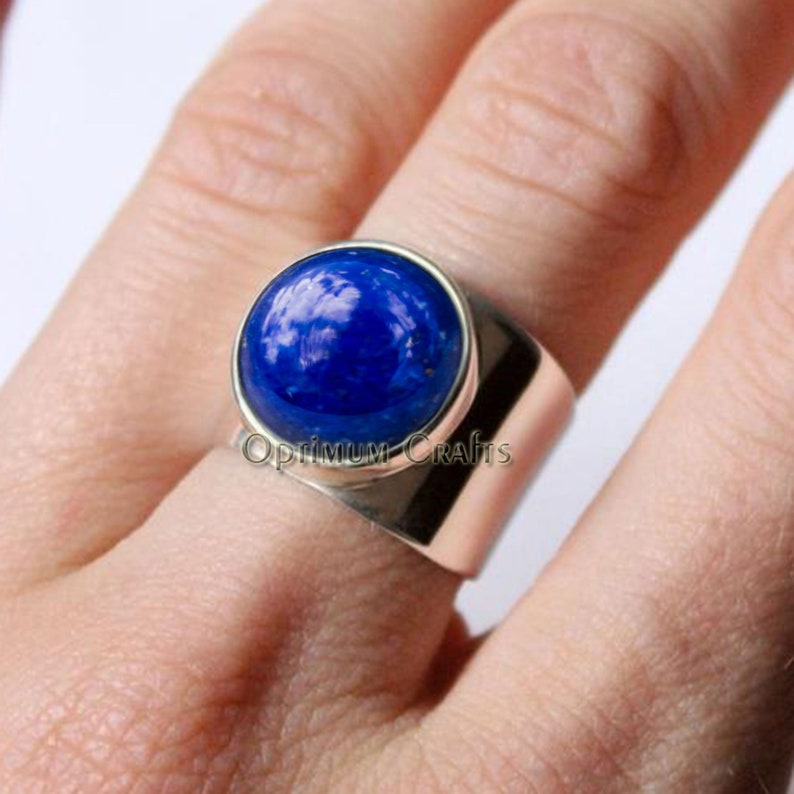Natural deep blue afghani lapis lazuli ring 925 solid sterling silver smooth round lapis ring handcrafted Unisex ring handmade best gift