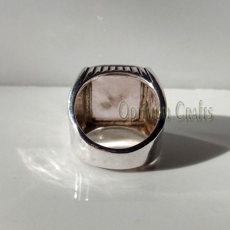 Natural Rose Quartz Ring Smooth Cabochon Cushion Rose Quartz Real 925 Sterling Silver Handmade Sterling Silver Ring Heavy Rose Quartz Ring