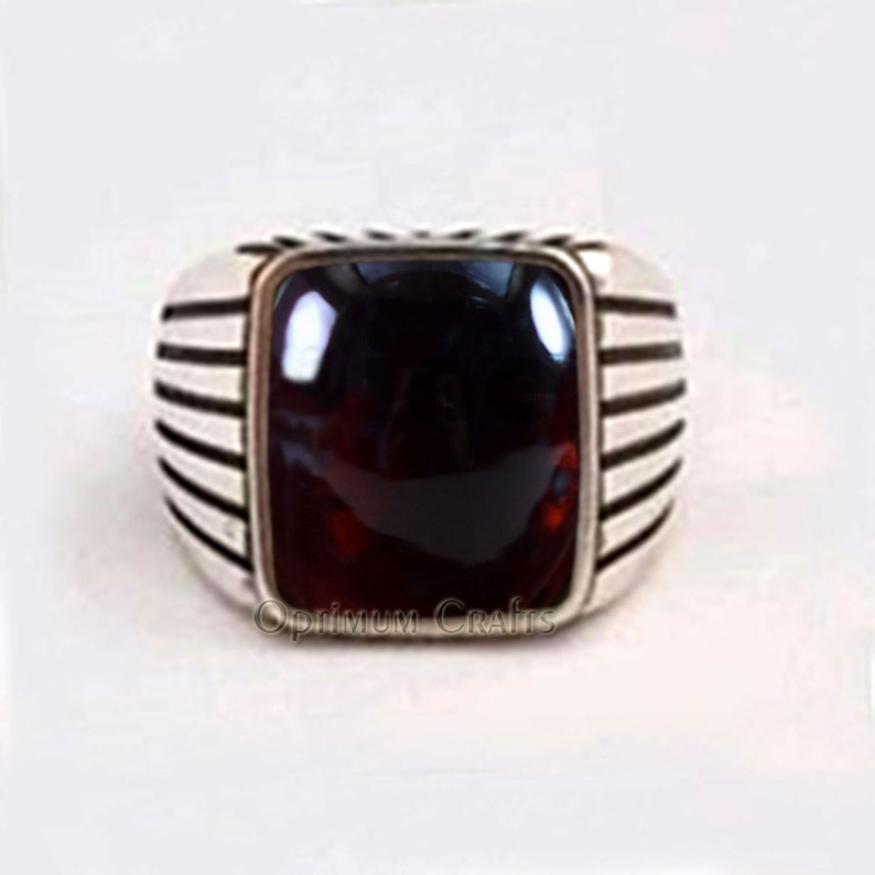 Natural Red Garnet Ring Cabochon Garnet 925 Sterling Silver Artisan Crafted Ring January Birthstone Ring Birthday Anniversary Gift for Mens