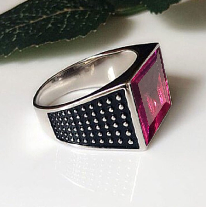 Mens Ruby Hydro Ring 925 Sterling silver ring ruby quartz ring handmade signet mens wedding jewelry gift for father July birthstone ring
