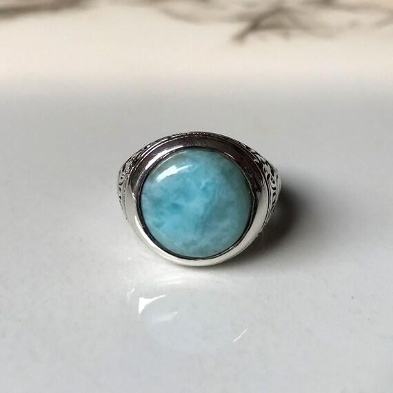 Natural Dominican Larimar Gemstone Ring-Oval Cab Larimar Ring-925 Sterling Silver Ring-Statement Ring-Blue Larimar Gem Ring-Caribbean Stone