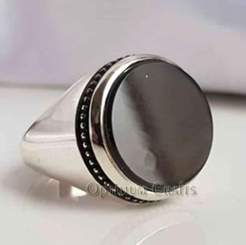 2019 Handmade Jewelry Gift Round Black Onyx Gems Solid Silver Charm Bracelet
