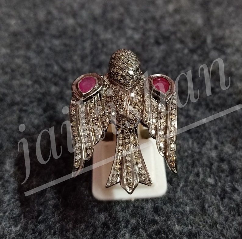 On Sale Ruby Gemstone Rings Gift For Her Ruby Rings Pave Diamond Ring Oxide 925 Sterling Silver Ring Victorian Eagle Bird Ring