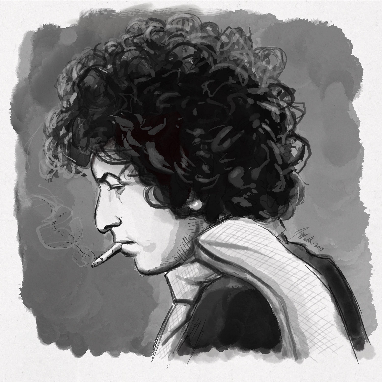 Bob Dylan  Black and White  Fine Art Print  Giclee  Japanese Ink   Yokai Illustration  Artist Portrait Series