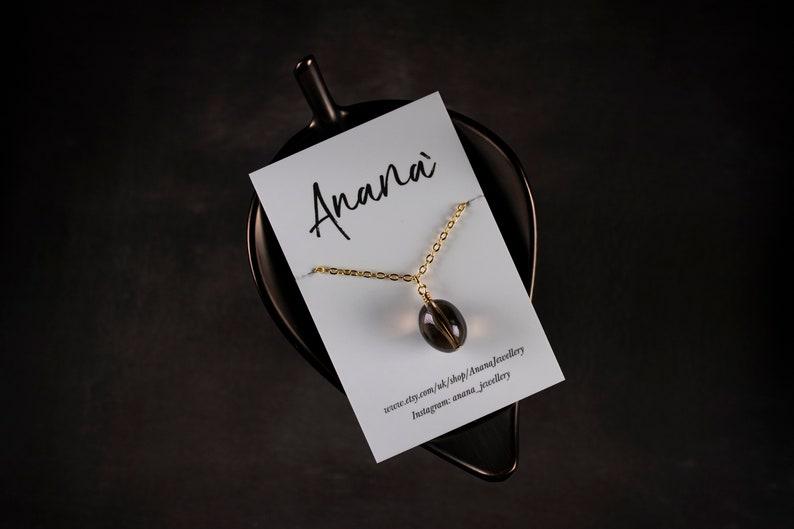 Smokey quartz tumble stone pendant necklace sterling silver gold