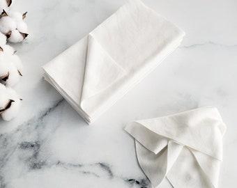 5 Green Handkerchiefs ultra soft white bamboo fabrics