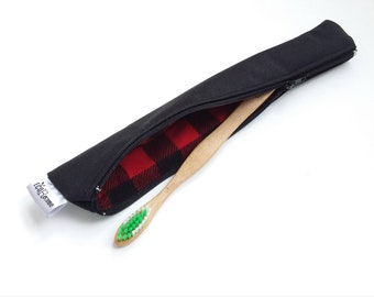 Pouch / case for toothbrush Ecorebelle waterproof (black/Plaid)
