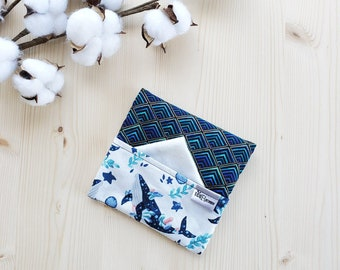 Washable handkerchief pouch with a pocket side for soiled handkerchiefs (Blue Whales)