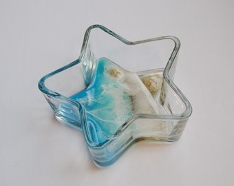 beach gift glass bowl trinket bowl Beach trinket dish starfish bowl jewellery dish resin ocean Resin beach art starfish ring dish