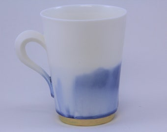 Fine blue medium porcelain cup with gold rim