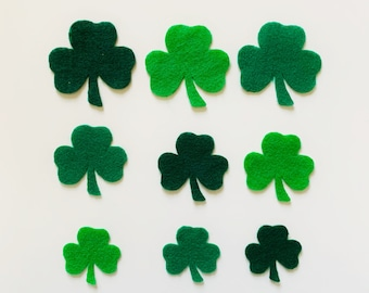 Flower Embroidery Wool Felt Shamrock Ornament St Hand stitched flowers Patrick/'s Day Decor
