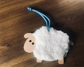 Personalised laser engraved Sheep ornament for baby shower or birthday gift, for mom, grandma, or baby