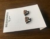 Earrings Mountains Sterling Silver walnut wood Stud earrings