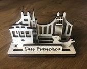 Wood display city SAN FRANCISCO keepsake lasercut souvenir desk or shelf display