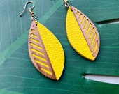 Laser cut wood Leaf earring with leather