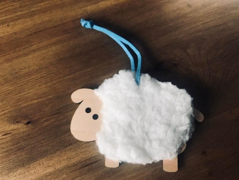 Personalised laser engraved Sheep ornament for baby shower or image 0