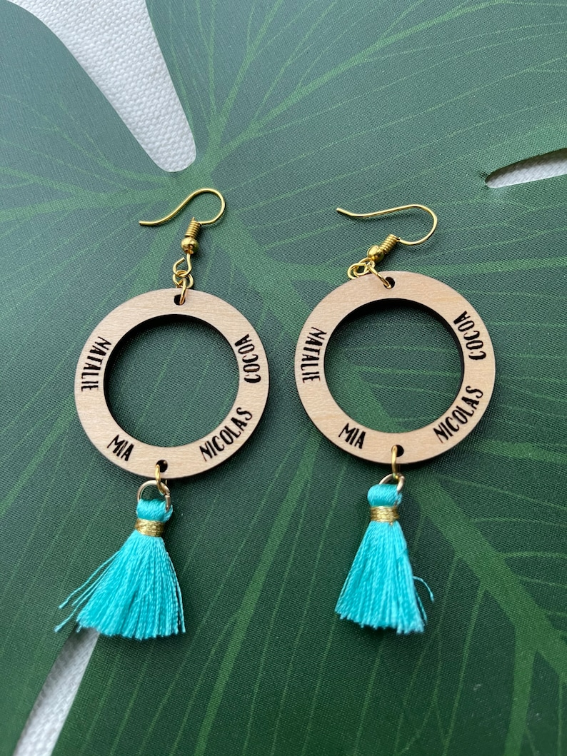 Custom personalized engraved name earrings image 0