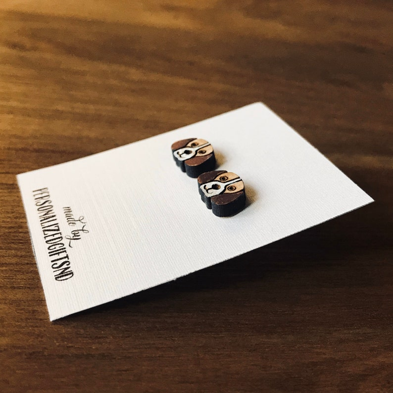 Earrings Puppy sterling silver with wood and handpainted image 0