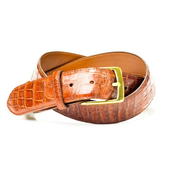 Alligator Belt, Mens Cognac Alligator Leather Belt, Leather Belt, Belt, Florida Alligator Belt, Father's Day Gift, Unique Belt,Designer Belt