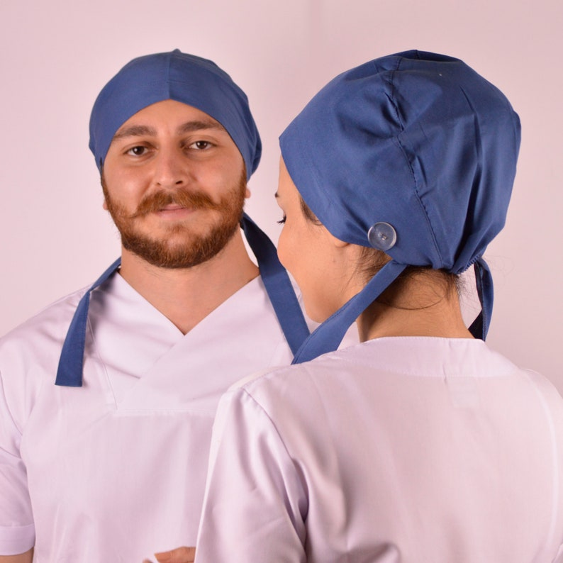 UNISEX,scrub caps with buttons,Medical bonnet,Traditional Tie Style Scrub Hat,Surgical cap,Nurse cap,doctor gift,petrol blue,scrub cap