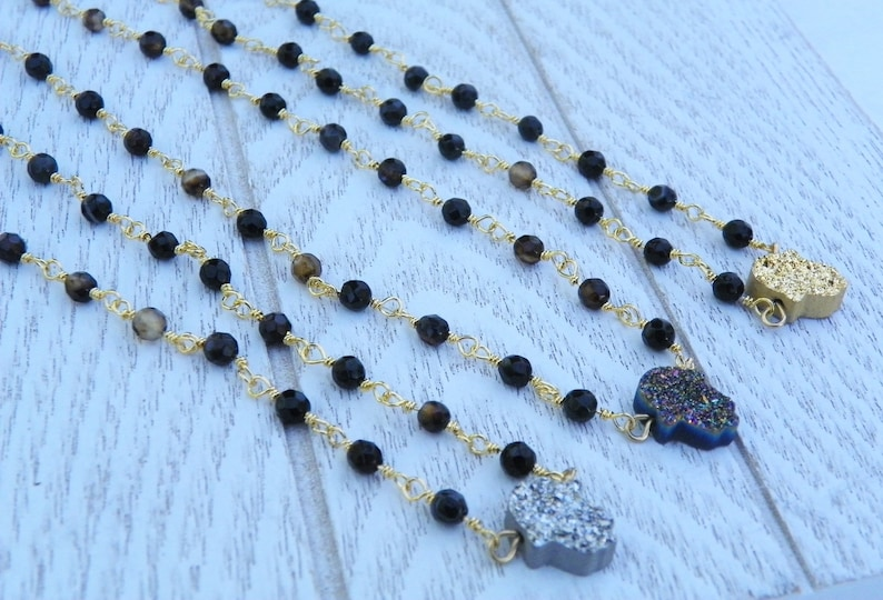 Gold Plated Brown Rosary wire beaded chain necklace Hamsa Jewelry Hand Titanium Crystal Druzy Stone Pendant Necklace