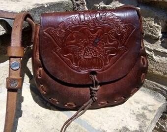 4f06b1b74c VINTAGE BOHO BAG In Leather I.G 70s .Brown Shouder Handmade Postina in Cuoio  Artigianale anni70