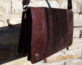 86329de192 VINTAGE LEATHER BAG Brown Suede Shoulder 70s Borsa Tracolla Anni70 in Pelle