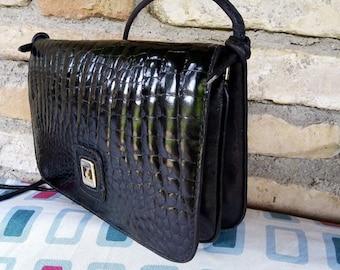 0effd35e5d VINTAGE LEATHER BAG Black Shoulder 70/80s Femme Borsa in Pelle Nera Con  Tracolla removibile