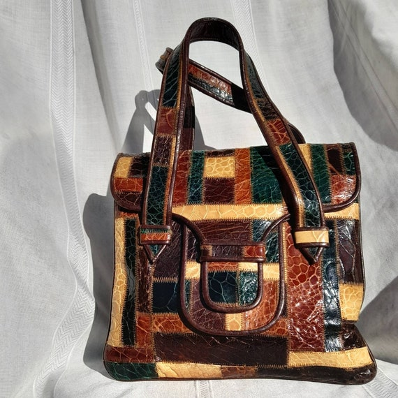 VINTAGE LEATHER BAG 50s Multicolor Patchwork handb