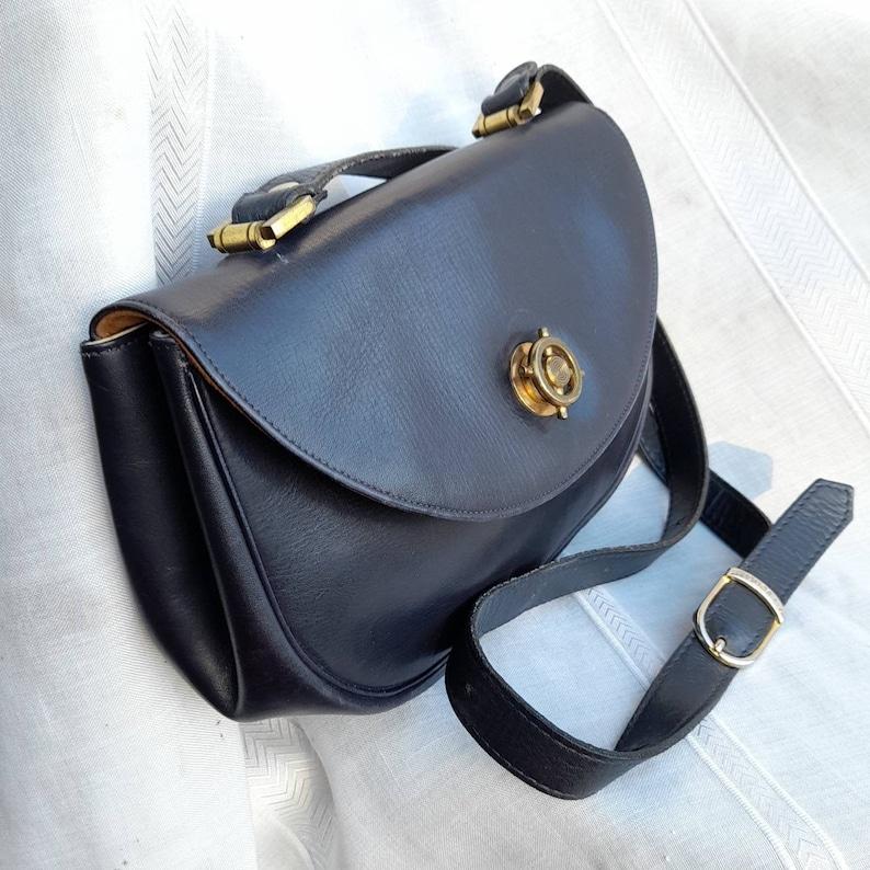 50s60s Crossbody Handbag Saints in Midnight Blue Leather THE SANTI VINTAGE Blue Navi Leather Shoulder BAG