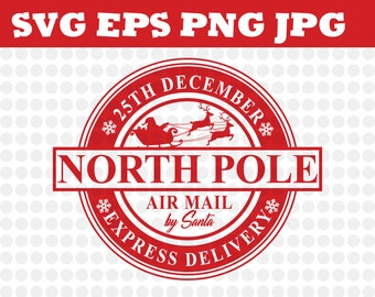 North Pole Express Mail Christmas Design Scf Eps Png Jpg Decal File Silhouette Designs Cameo Circut Santa, Christmas, Stamps, Mail, Express