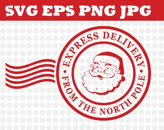 North Pole Express Mail Christmas Design Svg Eps Png Jpg Decal File Silhouette Designs Cameo Circut Santa, Christmas, Stamps, Mail, Express